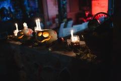 Calabaza tallada de víspera de Todos los Santos Fotos de archivo libres de regalías