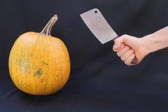 Calabaza y cuchillo Imagen de archivo libre de regalías