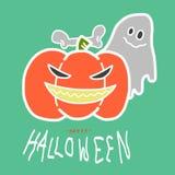 Calabaza y fantasma de Halloween Imagen de archivo