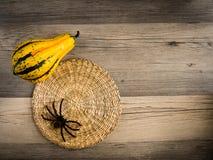 Calabaza y fondo de la araña Fotografía de archivo libre de regalías