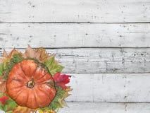 Calabaza y hojas de otoño para el día de la acción de gracias en la tabla blanca Foto de archivo