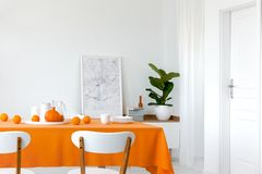 Calabaza y naranjas en la tabla del comedor, mapa enmarcado al lado de la pila de libros en el estante fotografía de archivo libre de regalías