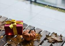 Calabaza y regalos con las hojas de arce y Ligths de hadas Imagen de archivo