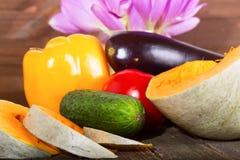 Calabaza y verduras - un pepino y un tomate Fotos de archivo libres de regalías