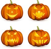 Calabazas anaranjadas de 3d Halloween fijadas Imagen de archivo libre de regalías