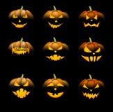 Calabazas anaranjadas de 3d Halloween fijadas Imagen de archivo