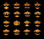 Calabazas anaranjadas de 3d Halloween fijadas Foto de archivo libre de regalías