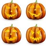 Calabazas anaranjadas de 3d Halloween fijadas Fotos de archivo libres de regalías