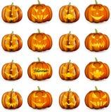 Calabazas anaranjadas de 3d Halloween fijadas Fotografía de archivo libre de regalías