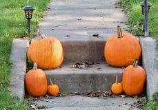 Calabazas anaranjadas en el paso Fotografía de archivo libre de regalías