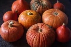 Calabazas anaranjadas orgánicas en la tabla de madera, fondo de la calabaza de la acción de gracias, cosecha del otoño Imagenes de archivo