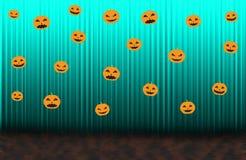 Calabazas asustadizas, cortina de levantamiento azul Imagen de archivo libre de regalías