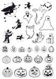 Calabazas, brujas y fantasmas - iconos de víspera de Todos los Santos Imagen de archivo libre de regalías
