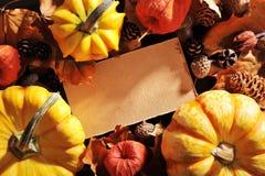 Calabazas con la tarjeta Fotografía de archivo libre de regalías