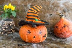 Calabazas de Halloween, arañas, web de araña y rata Fotografía de archivo