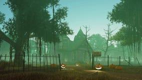 Calabazas de Halloween cerca de la casa fantasmagórica 4K stock de ilustración