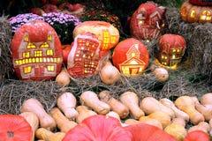 Calabazas de Halloween con la luz dentro de y aún la vida con la porción de flores y de heno Imagen de archivo libre de regalías