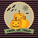 Calabazas de Halloween del truco o de la invitación Fotos de archivo