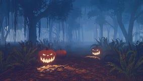Calabazas de Halloween en el rastro del bosque Foto de archivo