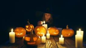Calabazas de Halloween en tablones de madera almacen de metraje de vídeo