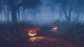 Calabazas de Halloween en un bosque asustadizo de la noche Fotos de archivo libres de regalías
