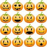 Calabazas de Halloween fijadas stock de ilustración