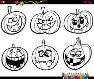 Calabazas de Halloween que colorean la página Imagen de archivo libre de regalías