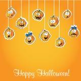 Calabazas de Halloween - tarjeta del vector stock de ilustración