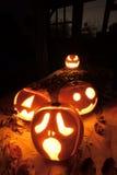 Calabazas de la Jack-o-linterna de Halloween Imagen de archivo libre de regalías