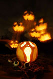 Calabazas de la Jack-o-linterna de Halloween Foto de archivo libre de regalías