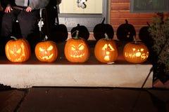 Calabazas de la linterna de Halloween Jack O Fotografía de archivo libre de regalías