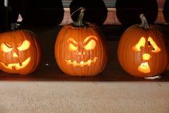 Calabazas de la linterna de Halloween Jack O Imagen de archivo