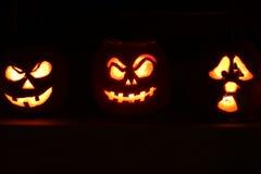 Calabazas de la linterna de Halloween Jack O Fotografía de archivo