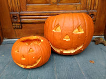 Calabazas de la naranja de Halloween Imagen de archivo libre de regalías