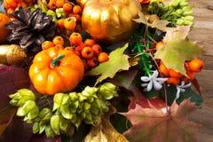 Calabazas de los símbolos de la caída, hojas de otoño, bayas y conos Imágenes de archivo libres de regalías