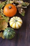 Calabazas de otoño con las hojas en el tablero de madera Fotografía de archivo