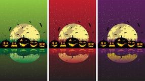 Calabazas de Víspera de Todos los Santos bajo la luna Stock de ilustración