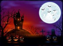 Calabazas del castillo y de Halloween Fotos de archivo libres de regalías