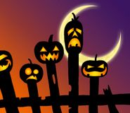 Calabazas del feliz Halloween en la cerca ilustración del vector