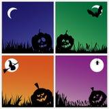 Calabazas fantasmagóricas de Halloween en fondos coloridos Fotos de archivo