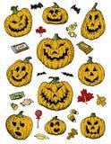 Calabazas a mano y caramelo de Halloween Foto de archivo libre de regalías