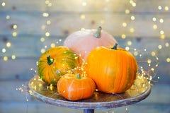 Calabazas para Halloween en la tabla Fotografía de archivo libre de regalías