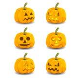 Calabazas que brillan intensamente de Halloween con diversas expresiones Imágenes de archivo libres de regalías