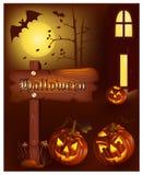 Calabazas sonrientes con los palos y la luna. Imagen de archivo libre de regalías