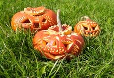 Calabazas talladas de Halloween Fotografía de archivo libre de regalías