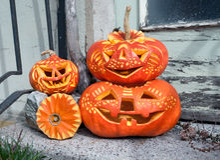 Calabazas talladas de Halloween Imagen de archivo