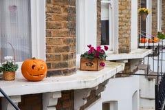 Calabazas talladas de Halloween exhibidas en los alféizares del terrac Imagen de archivo libre de regalías