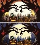 Calabazas y árboles frecuentados para Halloween stock de ilustración