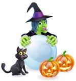 Calabazas y bola de cristal del gato de la bruja Imagen de archivo