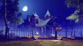 Calabazas y casa encantada asustadiza 4K de Halloween libre illustration